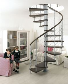 Furniture and Accessories. Cool Modern Home Indoor Spiral Staircase Design by Arke in Stainless Steel Wire Balustrade, Dark-Stained Solid Be...