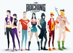Comic Book Superheroes as Rock Stars by Andrés Moncayo The Rocking League