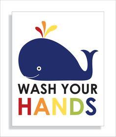 kids bath bathroom wall art with whale typography nursery wall art