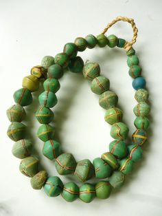 A graduated strand of antique African King Beads, old Venetian glass trade beads