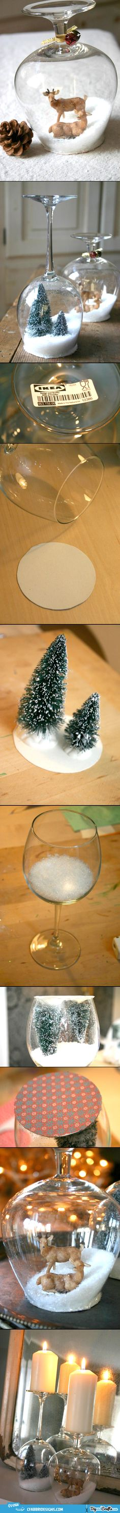DIY Stemware Snow Globes @kari0112  We can do this will all of my extra wine glasses I refuse to throw away!