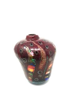 Aldo Nason - Vase from the Yokohama series AVEM Italy, 1955. Internal powders with burst metallic surface and applied murrain. Private collection.