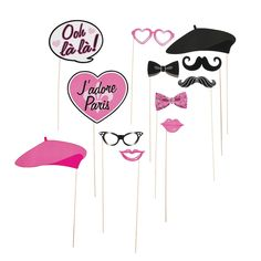 "Paris Photo Stick Props - Take every party guest to the city of romance as soon as they step up for a photo by adding these wonderful Paris Photo Stock Props to your DIY photo booth. Includes plenty of fun glasses, berets, and even an ""Ooh lá lá!"" 3"" - 8 1/2"" x 1 1/2"" - 7"" paper props on a 12"" wood stick. $7.25 Per Dozen"
