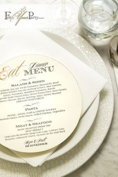 Beautiful personalized foil stamped circle menus from ForYourParty.com.