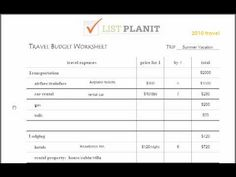 Creating a Travel Budget Worksheet Tutorial
