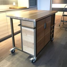 Custom kitchen island cart made by us for a condo size kitchen. Solid white oak and metal. Woodworking Furniture, Furniture Plans, Woodworking Projects, Woodworking Organization, Woodworking Apron, Woodworking Lathe, Woodworking Classes, Woodworking Videos, System Furniture