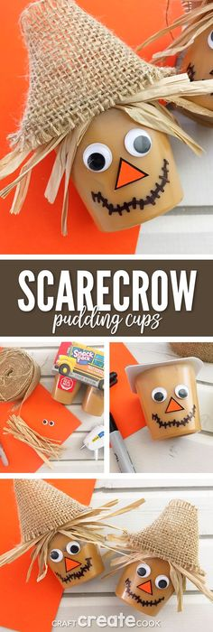 These Scarecrow Pudding Cups are the perfect crafty snack for a sweet Fall treat and your kids will love them. via @CraftCreatCook1