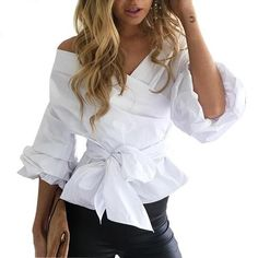 Sexy Off Shoulder Blue Striped Ruffled Women Blouses Tops Elegant Bow Ruched Sleeves White Shirts Feminino Autumn Casual Blusas Sexy Bluse, Fashion Vestidos, Black Leather Pants, White Shirts, Sexy Shirts, Shirt Blouses, Blouses For Women, Cheap Blouses, Ideias Fashion