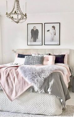 Get your bedroom decor summer ready with blush pink and grey |