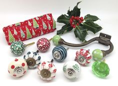 Mixed, festive, original cupboard door knob designs from www.theseplease.co.uk