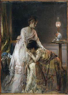 """AFTER THE BALL - Alfred Stevens, 1874. This painting, also known as """"Confidence,"""" is one of several by Stevens to treat the theme of consolation. As in his other works from the 1870s, here the anecdotal content of a letter containing distressing news asserts itself in a glimpse of the life of fashionable Parisian women in their elegant interiors."""