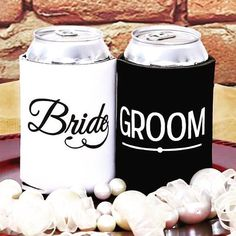 Enjoy you wedding and keep your drink cool in style! These bride and groom koozies are perfect for weddings and go with any theme! is for 10 koozies. This is for two koozies one bride and one groom as