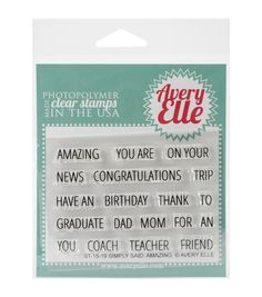 Avery Elle Clear Stamp Set-Simply Said Amazing