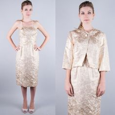 BULLOCKS Vtg 50s GOLD BROCADE HOURGLASS Wiggle PARTY DRESS+JACKET 2pc GORGEOUS S