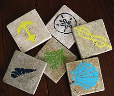Painted tile coasters
