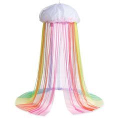 Rainbow Hideaway Canopy With Bright Led String Lights For Kids Indoor Imaginative Play - Hearthsong Rainbow Room Kids, Rainbow Bedroom, Rainbow Girls Rooms, Unicorn Bedroom, Metal Canopy, White Unicorn, Relax, Led String Lights, Room Essentials