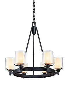 Troy Lighting Arcadia 6-Light Chandelier - French Iron Finish with Clear Outer and Ribbed Provence Inner Glass