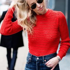 #winter #fashion /  Red Knit + Navy Jeans