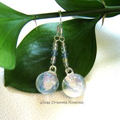 Radiant Glass Dangle Earrings, Fused Dichroic Glass Earrings, Handmade... ($25) ❤ liked on Polyvore featuring jewelry, earrings, dangle earrings, earring jewelry, beach jewellery, long earrings and beachy jewelry