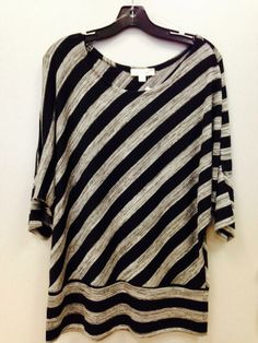 Plus size striped top 67% polyester 29% rayon  4% spandex Sizes 1X-2X-3X $15.99