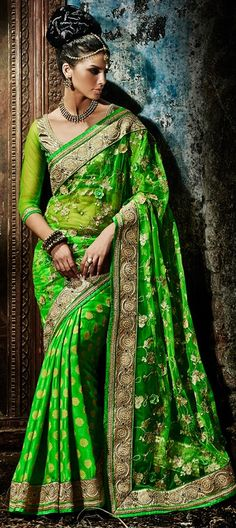157965, Party Wear Sarees, Embroidered Sarees, Viscose, Net, Jacquard, Machine Embroidery, Moti, Stone, Border, Green Color Family #Designer #Saree! #Sari #Embroidery #DesignerWears #Occasion #IndianDresses #Partywears #Indian #Women #Bridalwear #Fashion #Fashionista #OnlineShopping #Lehenga #DesignerBlouse *Free Shipping Worldwide*