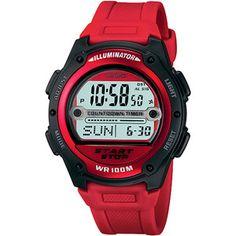 Casio Men's Digital Sport Watch, Red Resin Strap
