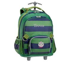 Fairfax Rolling Backpack Stripe Green/Navy with Navy Trim Kitty