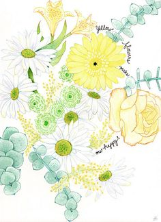 #watercolor #yellow #flowers