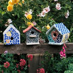 Mosaic Birdhouses These colorful, flower-inspired mosaic birdhouses are attractive in all meanings of the word. The rainbow of hues attracts the eye and proves that flowers need not be the only way to add color to a garden. Their functional aspects provide nesting spots for a variety of colorful birds, which makes your yard even more attractive.  You may be so inspired by making outdoor mosaic bird mansions that you'll be tempted to try your hand at creating colorful ones to decorate your…