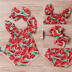 Buy Adorable Newborn Baby Girls Romper Watermelon Clothes Jumpsuit Bodysuit Outfits at Wish - Shopping Made Fun Baby Girl Jumpsuit, Jumpsuit Outfit, Baby Girl Romper, Rompers For Kids, Jumpsuits For Girls, Girls Rompers, Baby Outfits Newborn, Baby Girl Newborn, Toddler Outfits