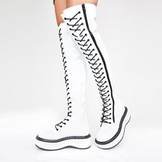 Knee High Platform Boots, Thigh High Boots, Platform Wedge, Punk Boots, Cowgirl Boots, Buckle Boots, Combat Boots, Over The Knee Boot Outfit, Glitter Boots