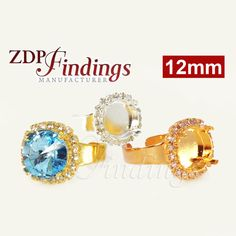 Crafts 18x13mm Rose Gold Adjustable Ring Setting W/crystal Rhinestone Fit Swarovski4120 Clear-Cut Texture