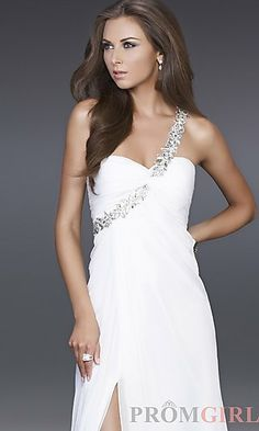 This is the dress I looked at while writing about Estella trying on her dress in the dressing room the day she died in the first chapter of my YA novel Careful. She is buried in her prom dress. (White Evening Gown by La Femme 15361 at PromGirl.com )
