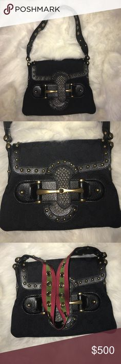 Gucci Handbag Gorgeous Gucci handbag. Perfect condition.  Signature red and green stripe shoulder strap. Just in time for fall ❤️ Gucci Bags Shoulder Bags