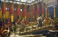 https://flic.kr/p/bYt3Ch | The visit of the Queen of Sheba to King Solomon | Art Gallery of NSW, Sydney  Sir Edward John Poynter (England 1836–1919) The visit of the Queen of Sheba to King Solomon 1881-90 (aka The Queen of Sheba before Solomon)  From the museum's description:  Having heard of Solomon's famed wealth and wisdom the Queen of Sheba came to Jerusalem 'to test him with hard questions', but she was overwhelmed by his magnificence. Poynter's reconstruction of Solomon's palace is ...