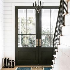 Glass front doors | Black front doors | Double front doors | Shiplap entryway