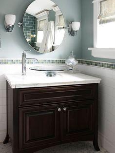 similar mirror to the one I already have.  Lighting idea.  Neat tile idea