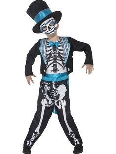 Be a skeleton with a difference this Halloween with this boys Day of the Dead groom fancy dress costume! Trick or Treat party outfit ideas and inspiration