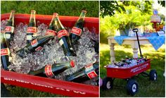 Old fashioned Coke bottles served in a Radio Flyer wagon | via Loralee Lewis #chillingrillin