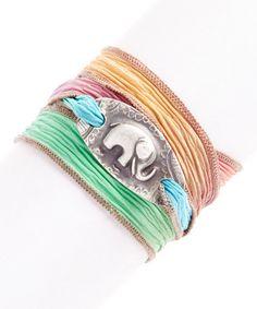 Silver Lucky Elephant Silk Wrap Bracelet