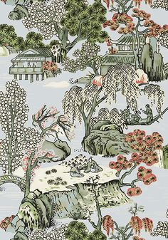 Asian Scenic Wallpaper by Thibaut Oriental Wallpaper, Asian Wallpaper, Chinoiserie Wallpaper, Chinoiserie Chic, Fabric Wallpaper, Chinoiserie Fabric, Chinese Wallpaper, Anna French Wallpaper, Beautiful Wallpaper