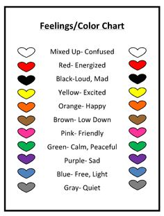 Color Feelings Chart my many colored days – explore feelings with color, movement and