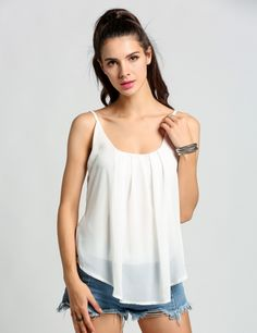 Nueva manera de las mujeres sin mangas ocasional floja de la gasa de la correa de espagueti camisetas sin mangas