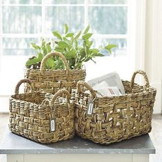 Set of 3 Banana Bark Baskets | Ballard Designs: