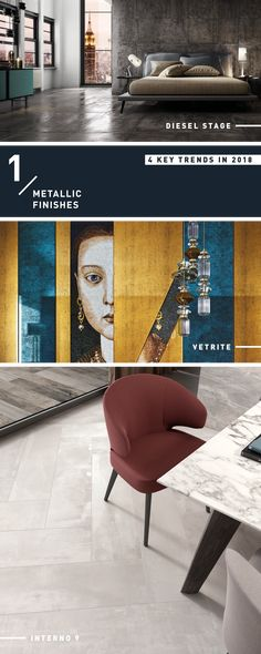 Interior Design 2018 Trend : Metallic Finishes 2018 Interior Design Trends, Dining Chairs, Marble, Metallic, It Is Finished, Flooring, Furniture, Home Decor, Decoration Home