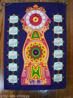 VINTAGE 1977 GERMAN Hippie Psychedelic Clock Cloth Hanging Calendar Tapestry