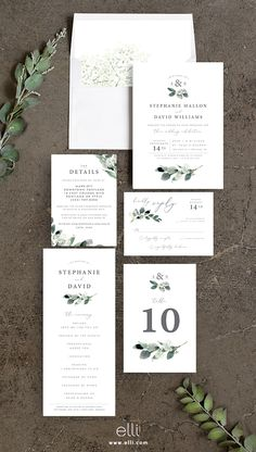 Elegant greenery wedding invitations featuring a gorgeous greenery and modern design.
