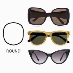ReinyAnd's Beauty Journal: Tips: Model Sunglasses sesuai bentuk wajahmu Round Face Sunglasses, Sunglasses Women, Apple Body Type, Beauty Journal, Glasses For Your Face Shape, Glasses Frames, Face Shapes, Fashion Advice, Summer Time