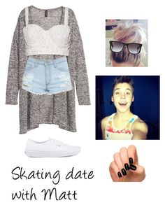 Skating Date with Matthew Espinosa by mattsbelieber on Polyvore featuring H&M, Alice + Olivia, Vans and Ray-Ban