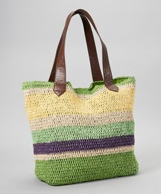 Another great find on #zulily! Green & Yellow Stripe Straw Tote by Straw Studios #zulilyfinds